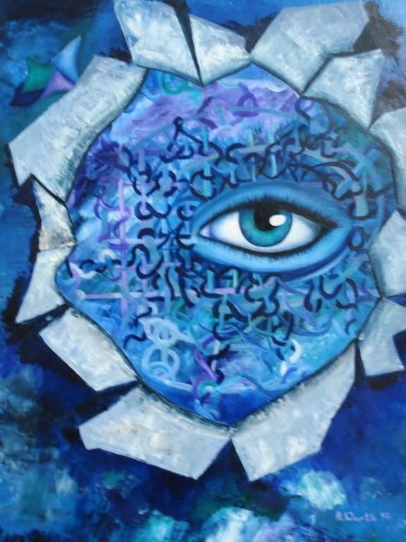 Auge im Chaos II  80 x 100 cm     1997