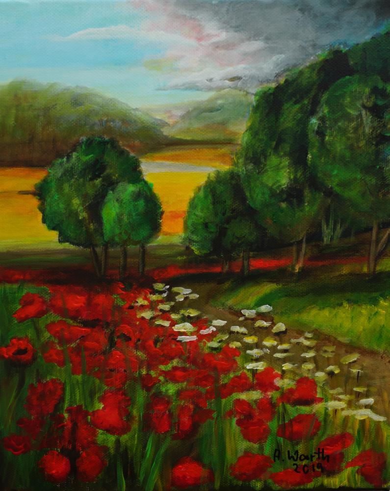 Mohnfeld 2019, Acryl 25 x 30 cm