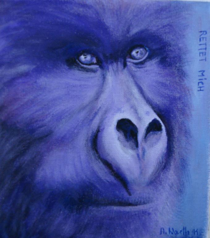 Gorilla  2011 Acryl auf Malkarton  21 x 21 cm