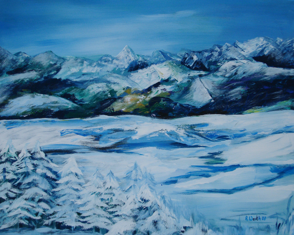 Winter in den Alpen  2008   100 x 80 cm