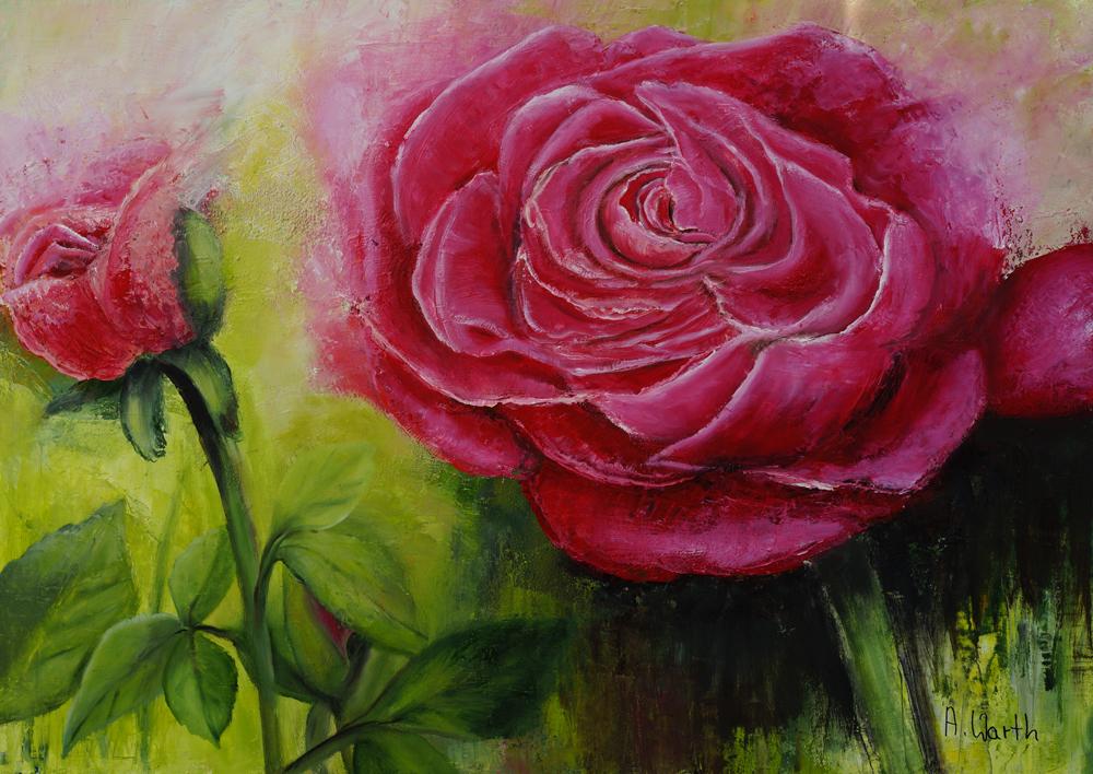 2017, Rose, rosé  70 x 50 cm, Öl gespachtelt