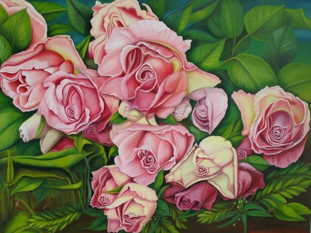 2002   Rosenbouquet     120 x 100 cm