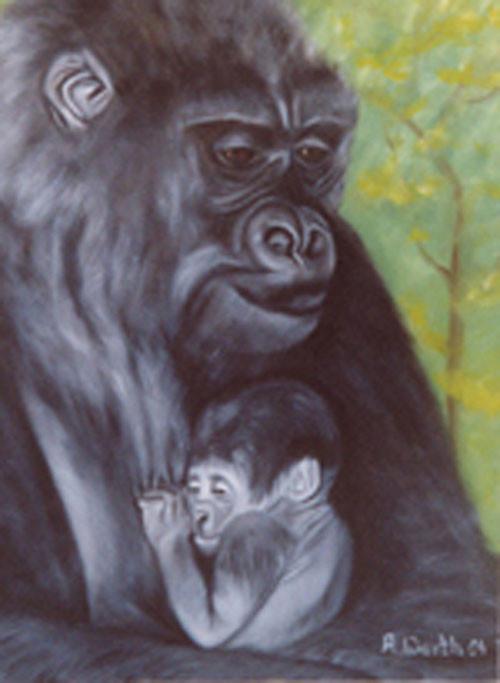 Gorilla Mama mit Baby   2003   Öl   30 x 40 cm