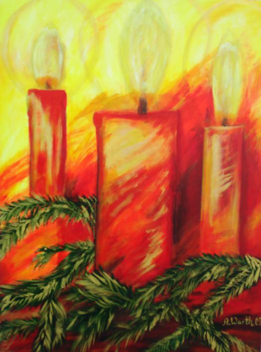 dicke rote Kerzen, Tannenzweigduft......   60 x 80 cm