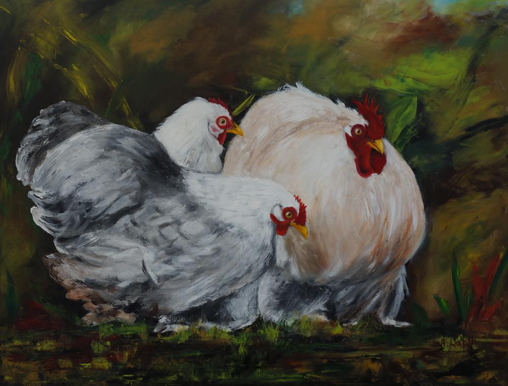 federfüßige Zwerghühner, Oskar, Berta, Babette.. 2018.. Öl gespachtelt  90 x 70 cm