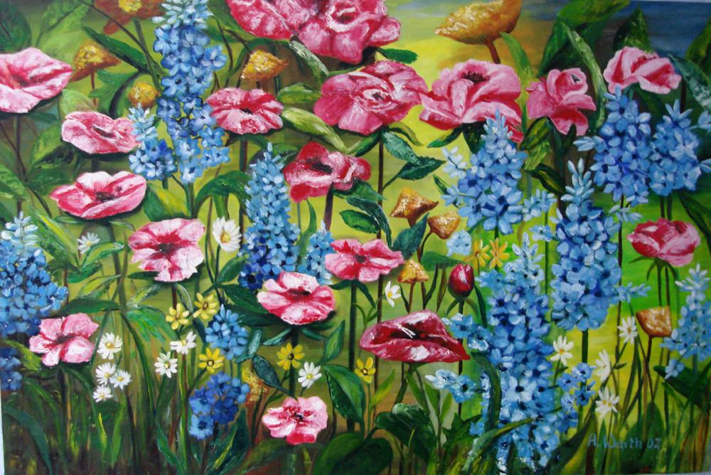 Rittersporn + Rosen   2002    150 x 100 cm