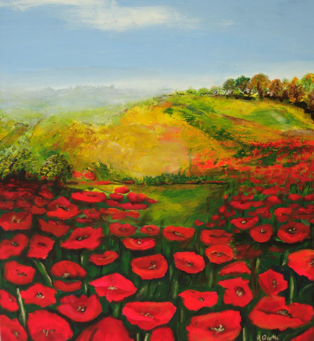 Mohn mit Landschaft  2016     Öl  60 x 80 cm