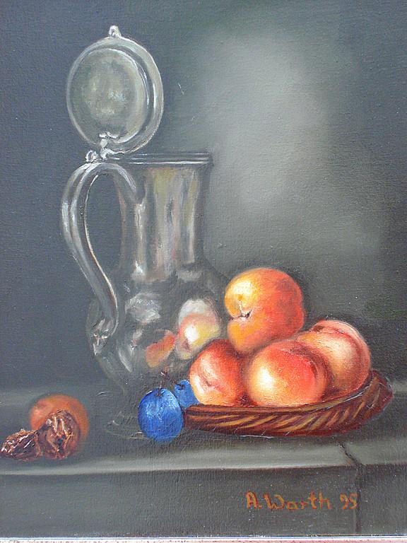 Zinnkrug mit Obst   1995     25 x 30 cm