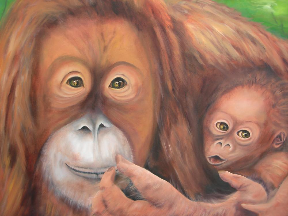 Orang Utan Mama mit Baby  2011   Öl  50 x 40 cm