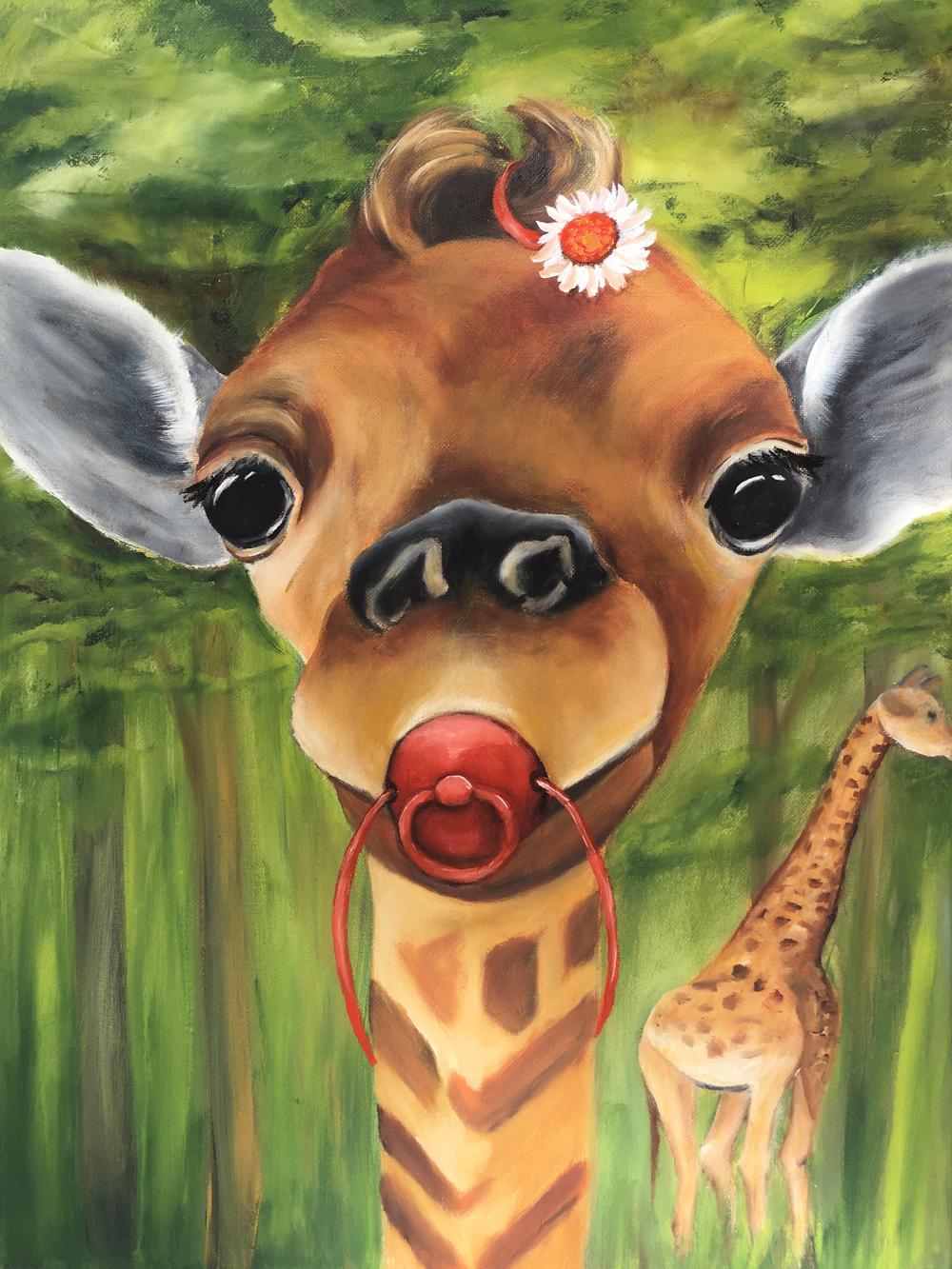 Misu-Giraffenbaby 2016  Öl 30 x 40 cm