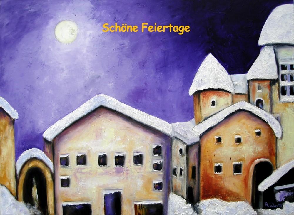 Winterfreude 2015, Öl 80 x 60 cm