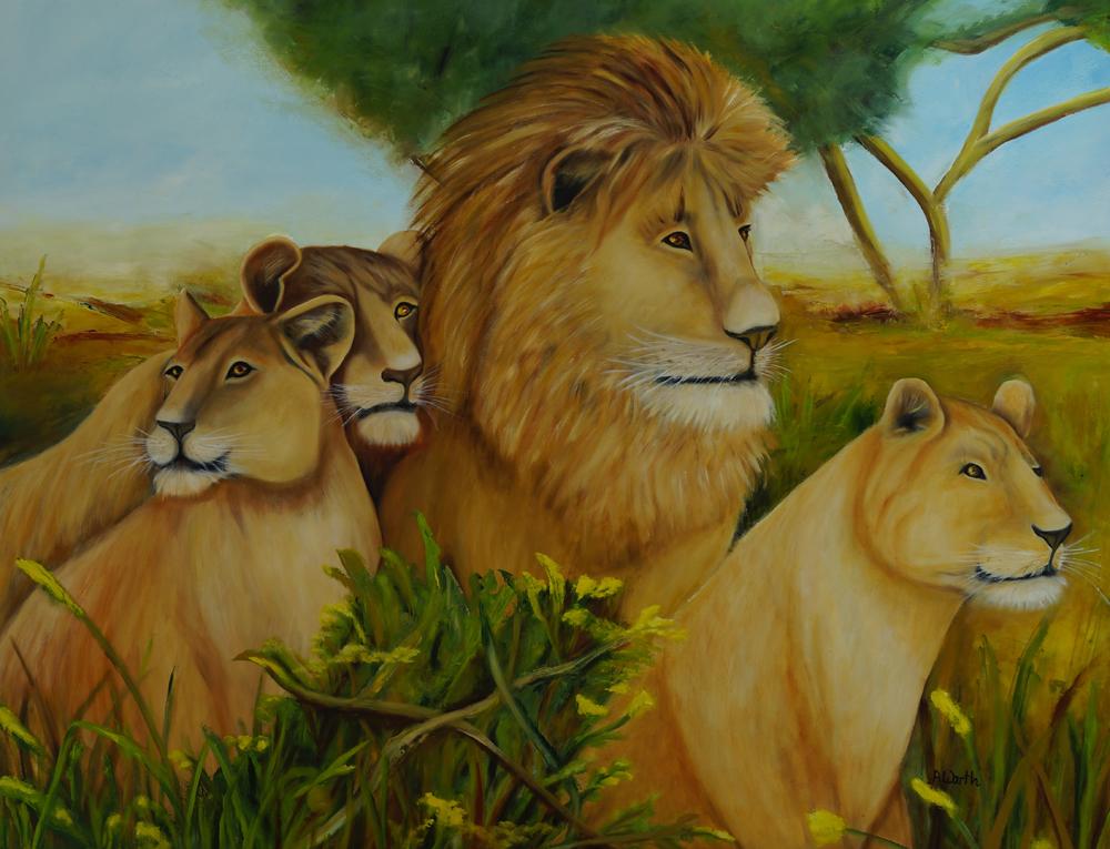 Löwenrudel 2017 Öl 110 x 90 cm