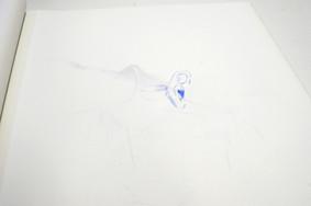 浅井真理子 はしがまるいつるつるのみちをとおってかなたをさわりに_地形図  (部分)  2013 色鉛筆、鉛筆、ペン、感圧紙、糊、