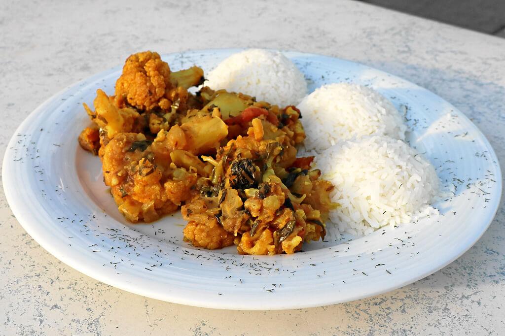 Alu-Gobi, Kartoffel-Blumenkohl-Curry mit Reis