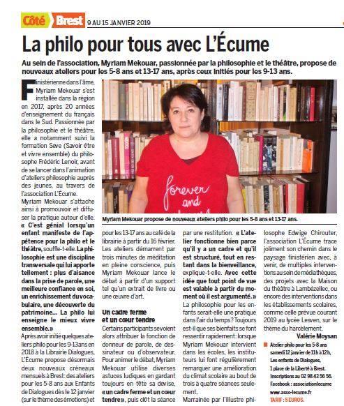 Merci à Récréatiloups et à Valérie Moysan pour ce bel article dans Côté Brest daté du 9 janvier 2019 !
