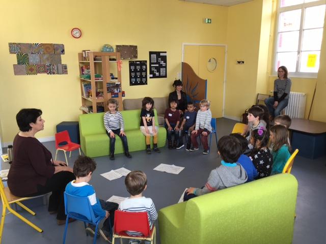 Pratique de l'attention juste avant l'atelier philo: les enfants, bine que découvrant pour la prelière fois, la pratique, jouent bien le jeu !