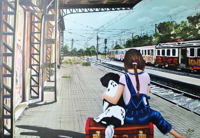 """El tren de la vida"" (2015), 80 x 120 cm, oil on canvas"