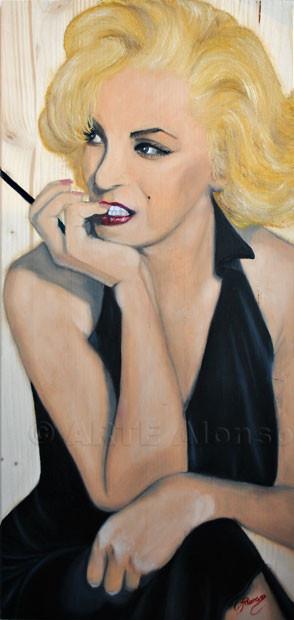 Sieht er mich ? (2011), 80 x 40 cm, Öl auf Holzplatte