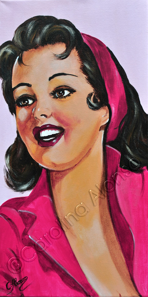 PinkLady (2015), acrylic on canvas, 60 x 30 cm
