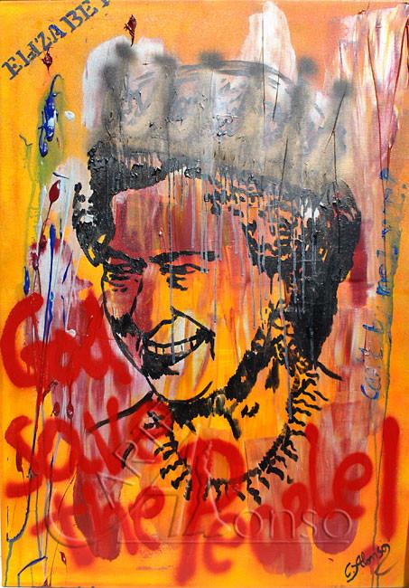 Crazy Queen (2012), 100 x 70 cm, Mixed Media auf Leinwand