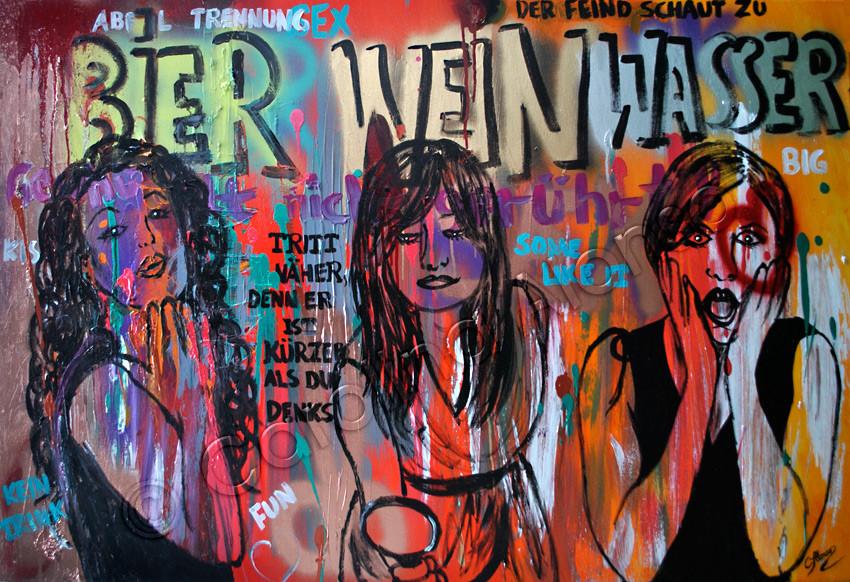 """Feind schaut zu"" (2015), 80 x 120 cm, MixedMedia auf Leinwand"