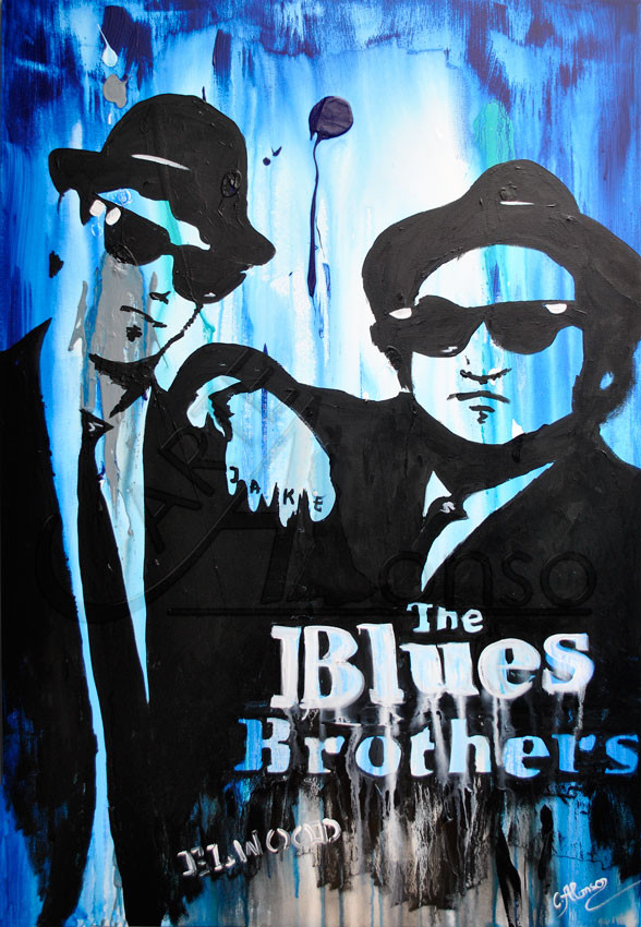 Blues Brothers (2012), 120 x 80 cm, Mixed Media auf Leinwand