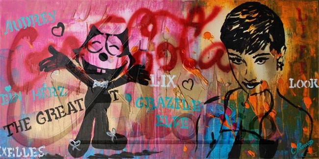 Grazile Elfe (2013), 40 x 80 cm, Mixed Media auf Leinwand