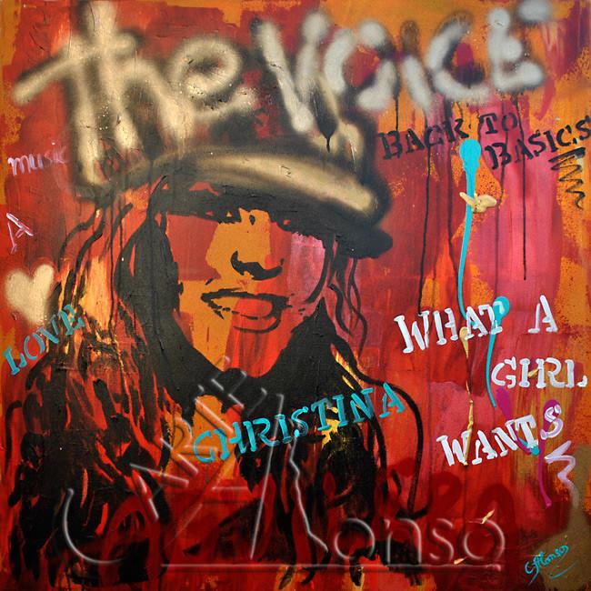 The Voice  (2012), 80 x 80 cm, Mixed Media auf Leinwand