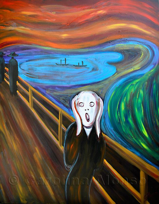 """Inspiration durch Edvard Munch: hier meine Fassung 1 """"Der Schrei """" Acrylic on canvas, 100 x 70 cm"""