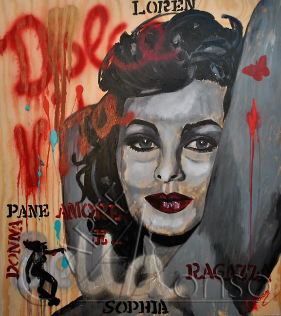 Ragazza (2012), 58 x 66 cm, Mixed Media auf Holz