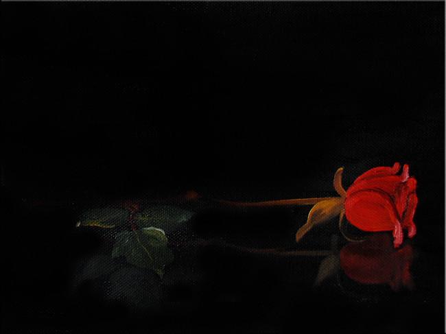 PhantomRose2 (2010), 18 x 24 cm, Öl auf Leinwand