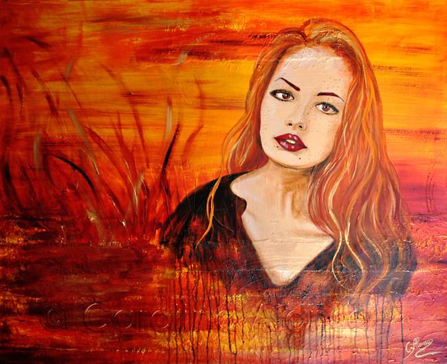 Flammendes Herz (2013), 100 x 120 cm, Acrylic on canvas