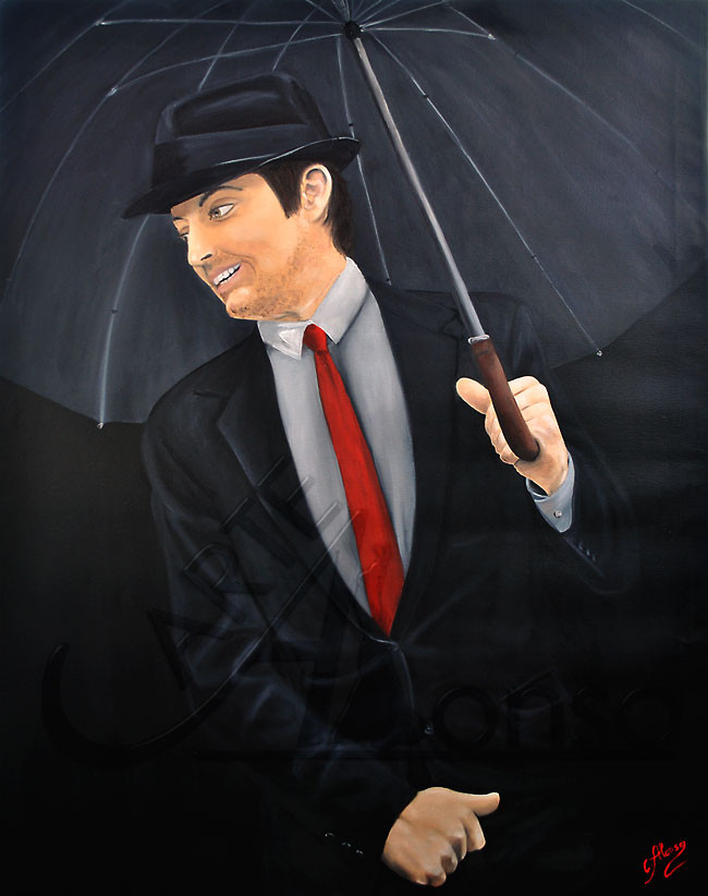 Smiling in the rain (2013), 100 x 80 cm, Oil & acrylic on canvas