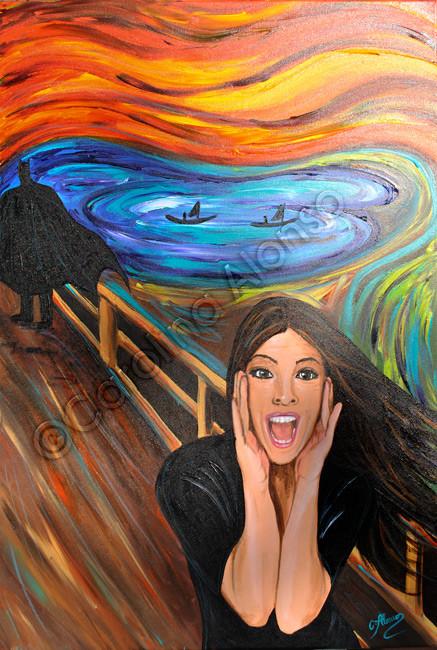 "Inspiration durch Edvard Munch: hier meine Fassung 2 ""El Grito"" 2015, Acrylic on canvas, 100 x 70 cm"