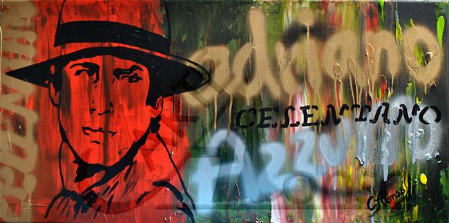 Azzurro... (2012), 40 x 80 cm, Mixed Media auf Leinwand