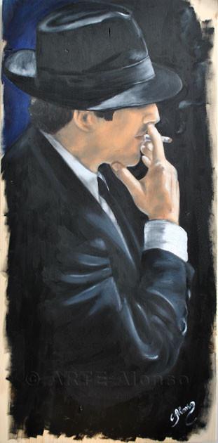 Soll ich aufhören ? (2011), 80 x 40 cm, Öl auf Holzplatte