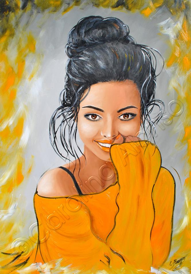 Sie strahlt  (2020), 100 x 70 cm, oil on canvas