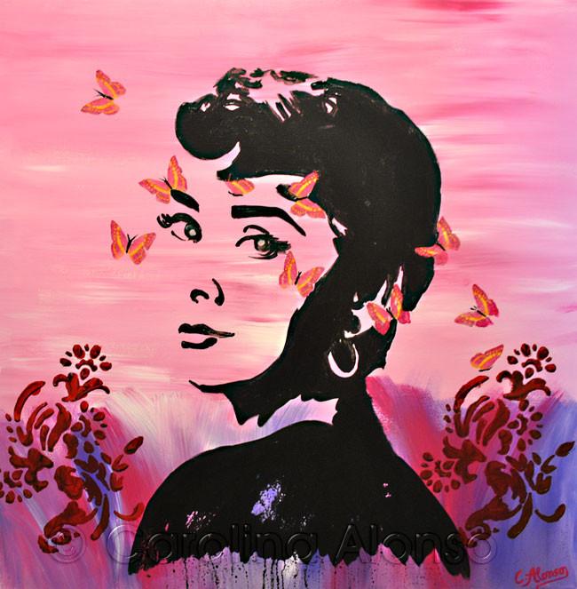 Mariposas (2013), 70 x 70 cm, Acryl auf Leinwand