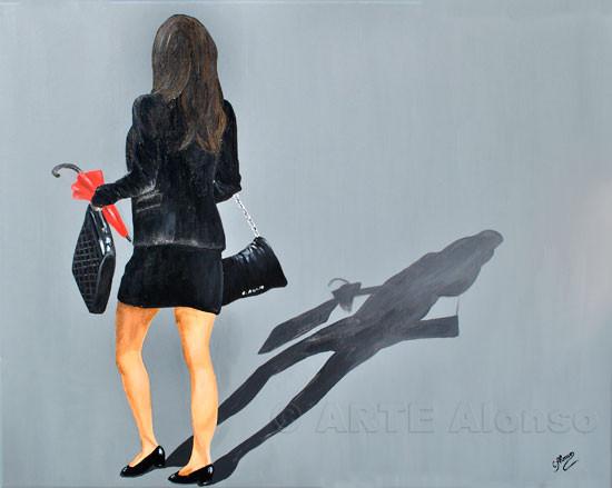 Auf zur Arbeit....(2011),  80 x 100 cm, Acryl auf Leinwand