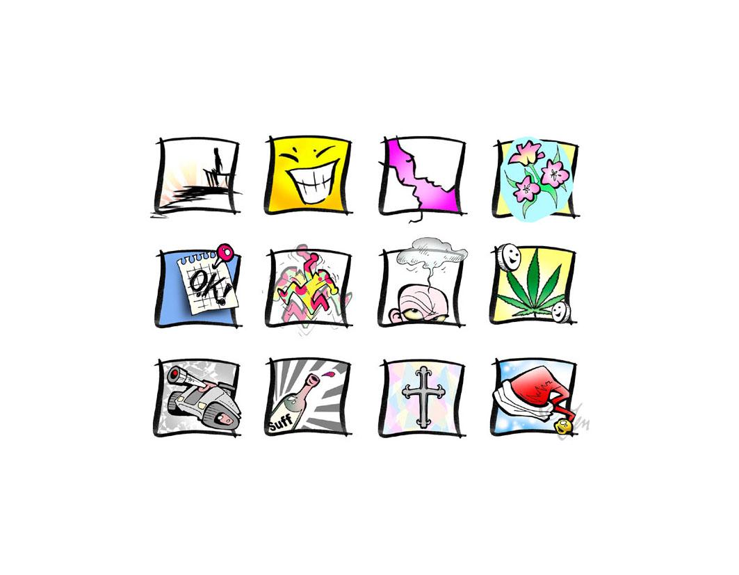 < Web-Icons > (Kulturprojekt Gedichtedickicht).