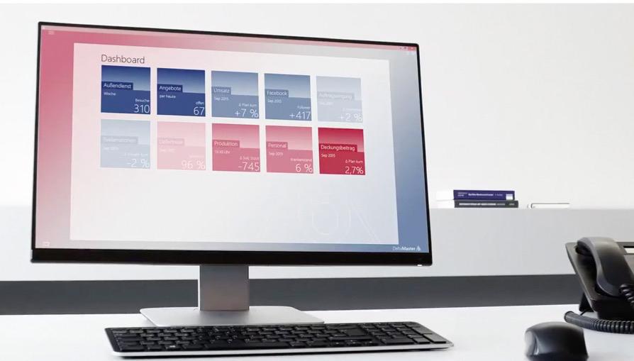 Dashboard mit dynamisch gefärbten Kacheln verschiedenster Anwendungen