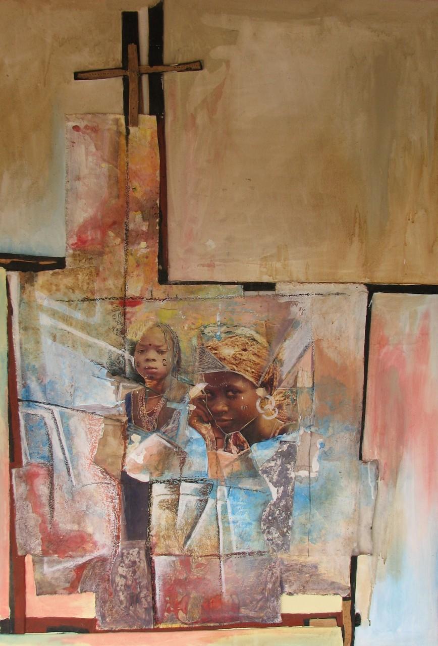 La pensée de la femme, 1 - 2004 - 65 x 90 cm - Acrylique, pastel, collage