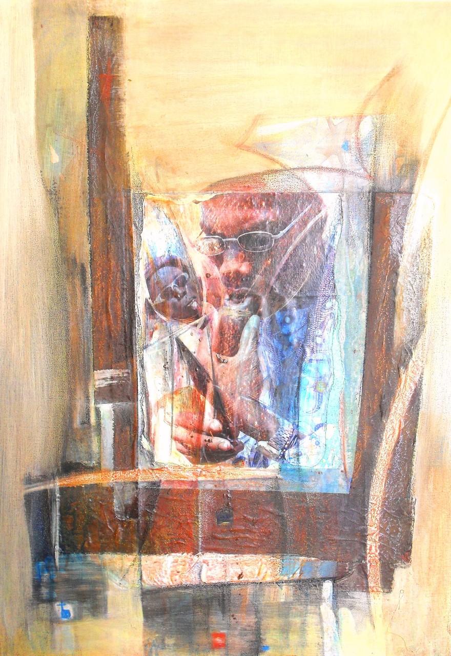 Le rassembleur - 2013 - 70 x 100 cm - Acrylique, collage, pastel