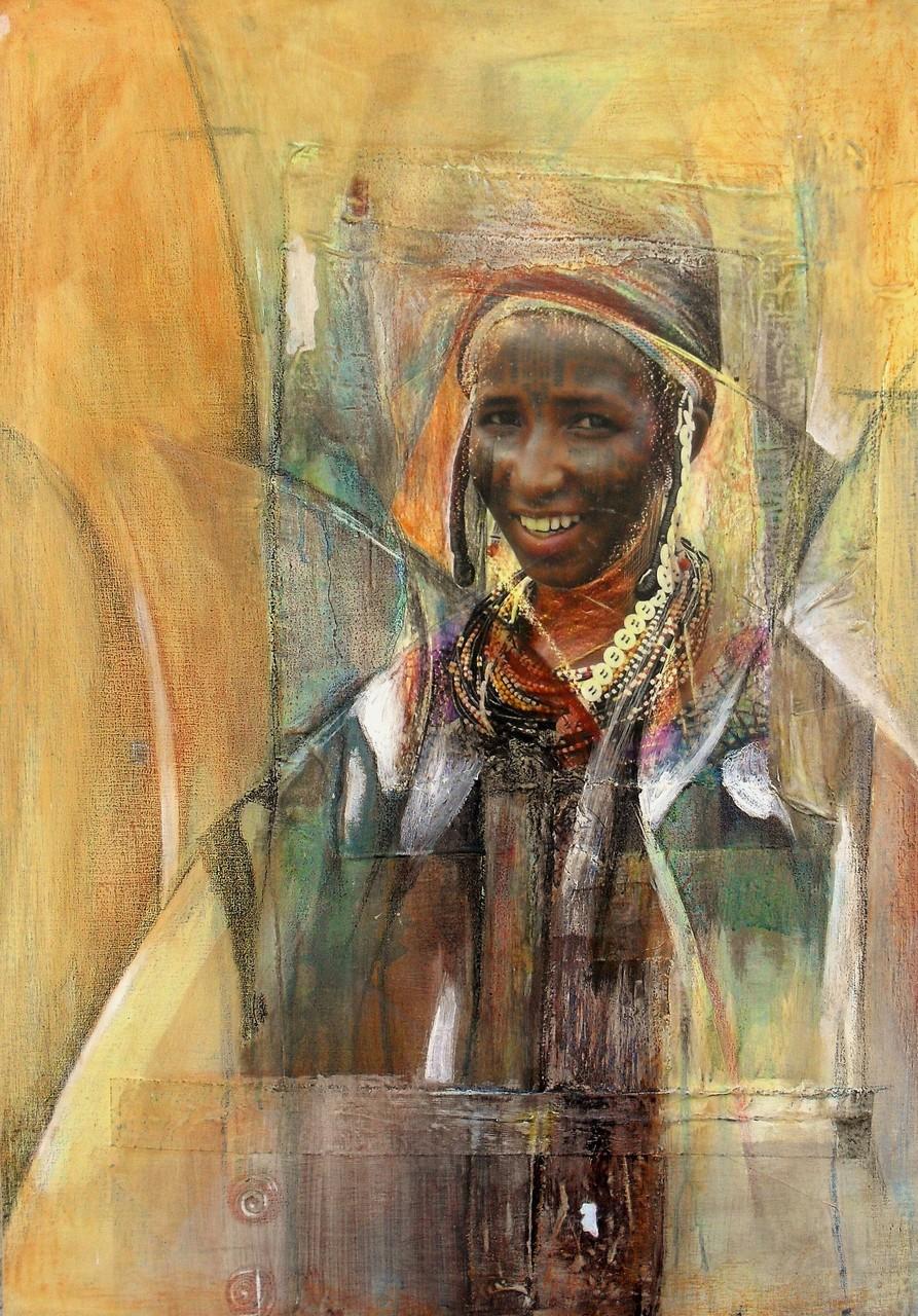 Sourire peuhl - 2013 - 70 x 100 cm - Acrylique, collage, pastel