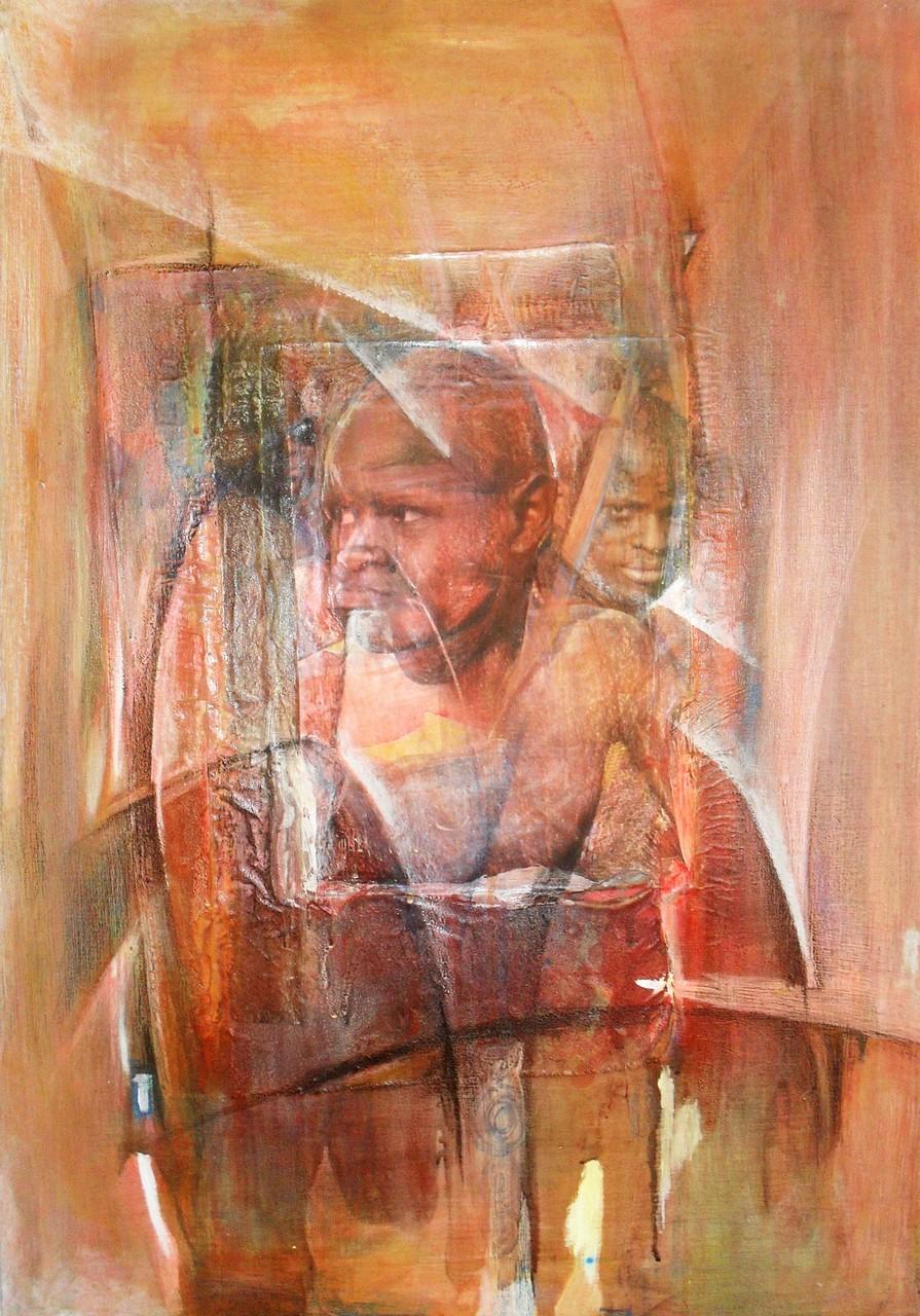 Je suis un homme - 2013 - 70 x 100 cm - Acrylique, collage, pastel