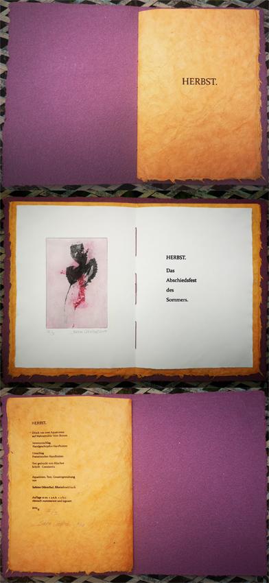 """""""Herbst"""" - Künstlerbuch 2019, Aquatintaradierung, Text im Klischeedruck"""