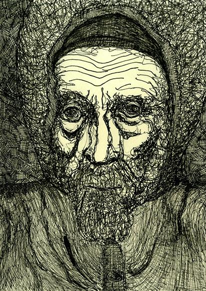 Flüchtling Portrait Zeichnung