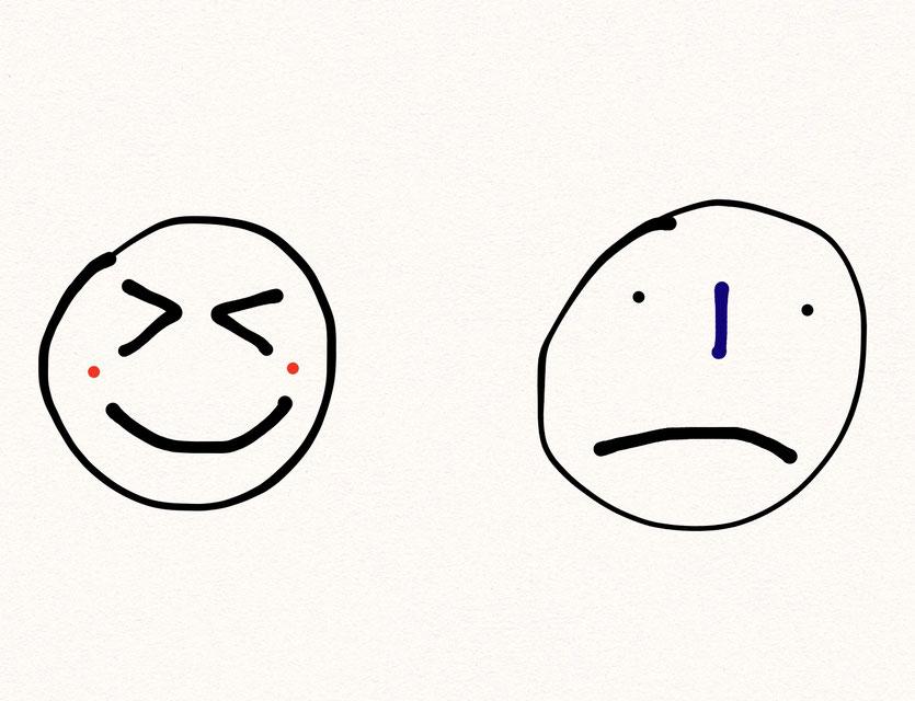 Due facce: una che ride, l'altra sembra arrabbiata