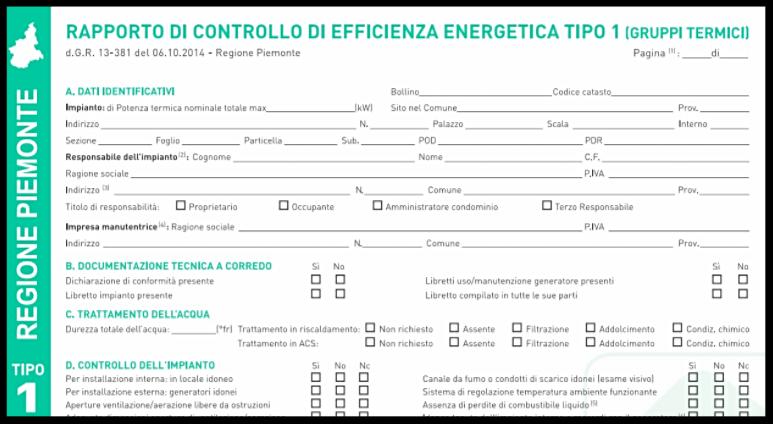 Rapporto di efficienza energetica tipo 1 per gruppi termici da caricare sul catasto impianto termici della regione piemonte