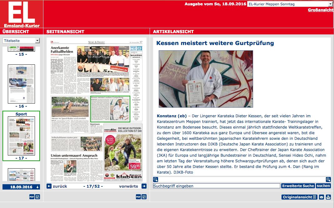 Yondanprüfung Konstanz 06.08.2016, EL-Kurier am Sonntag 17.09.2016